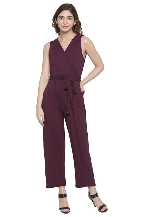 Wrap Neck Solid Jumpsuit-1