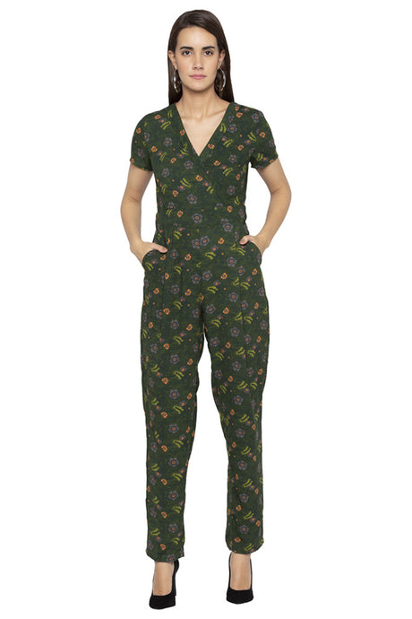 Full Length Front Wrap Neck Jumpsuit-1