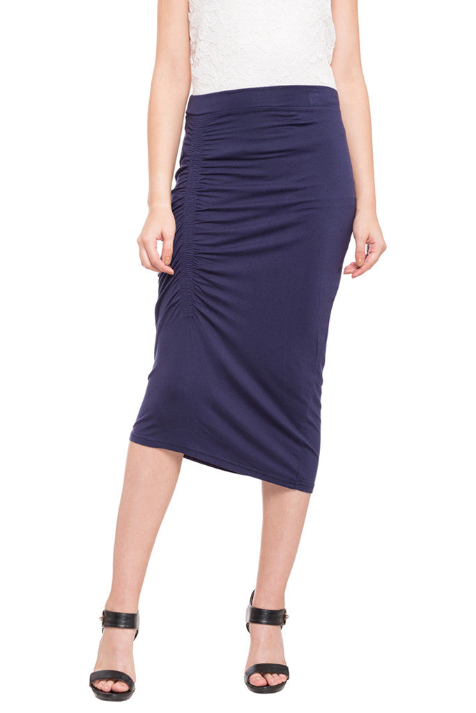 Ruched Front Calf Length Skirt-1