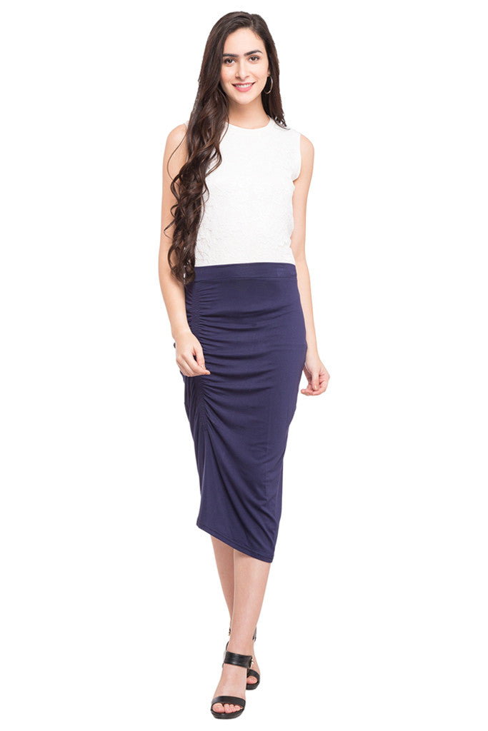Ruched Front Calf Length Skirt-2