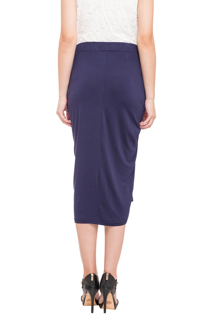 Ruched Front Calf Length Skirt-3