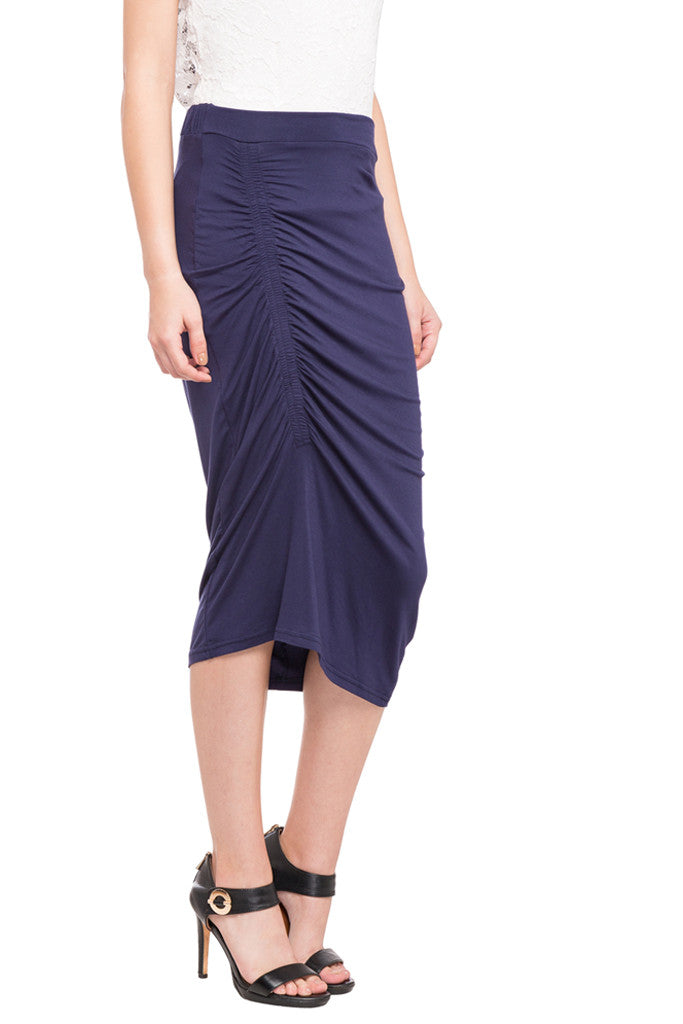 Ruched Front Calf Length Skirt-4