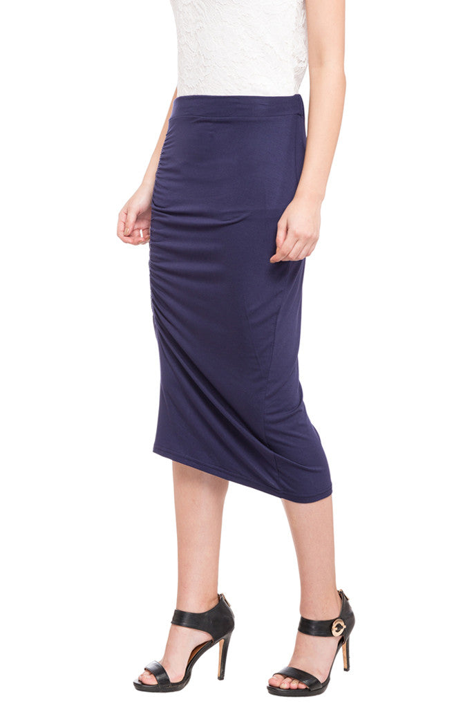 Ruched Front Calf Length Skirt-5
