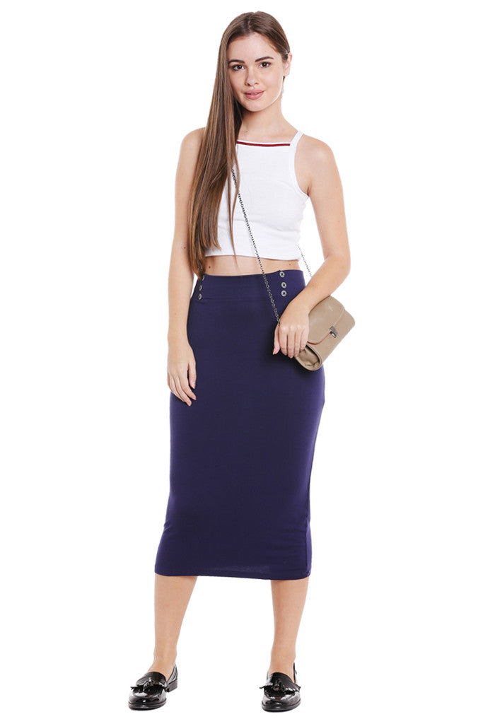 No Slit Pencil Skirt-5
