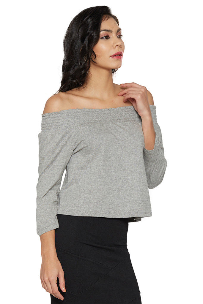 Grey Off-Shoulder Top-4