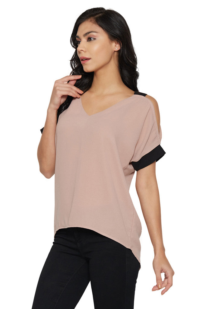 Dusty Pink Cold-Shoulder Top-2