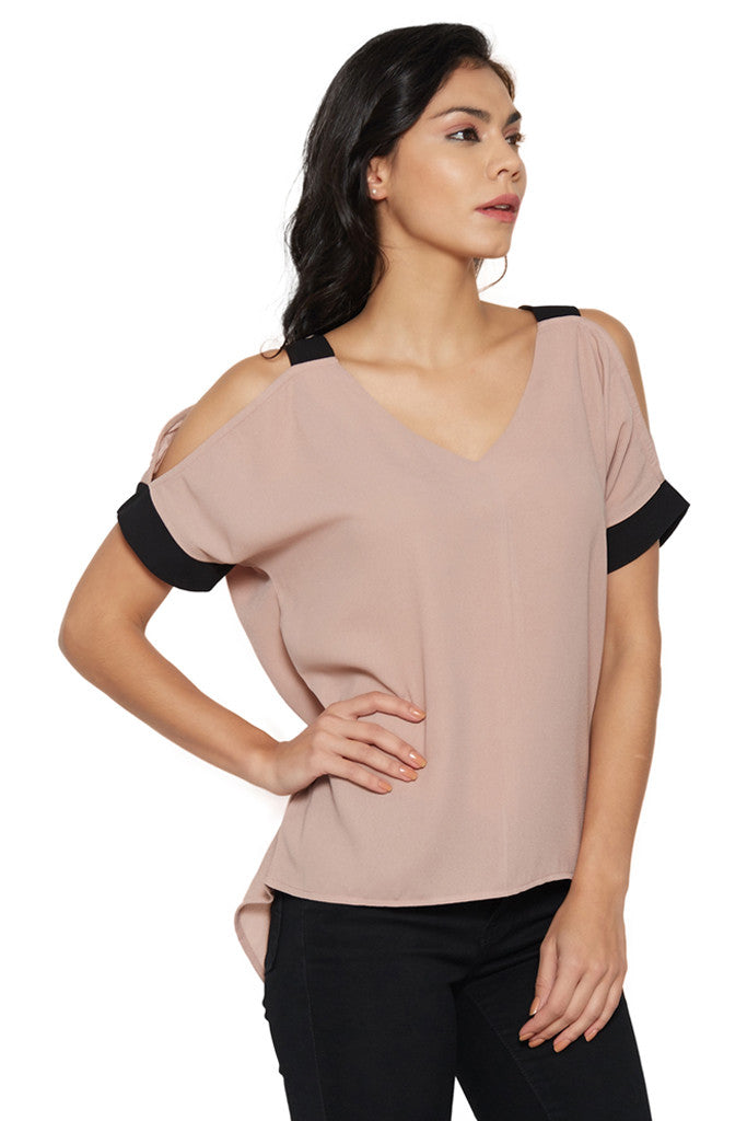 Dusty Pink Cold-Shoulder Top-4