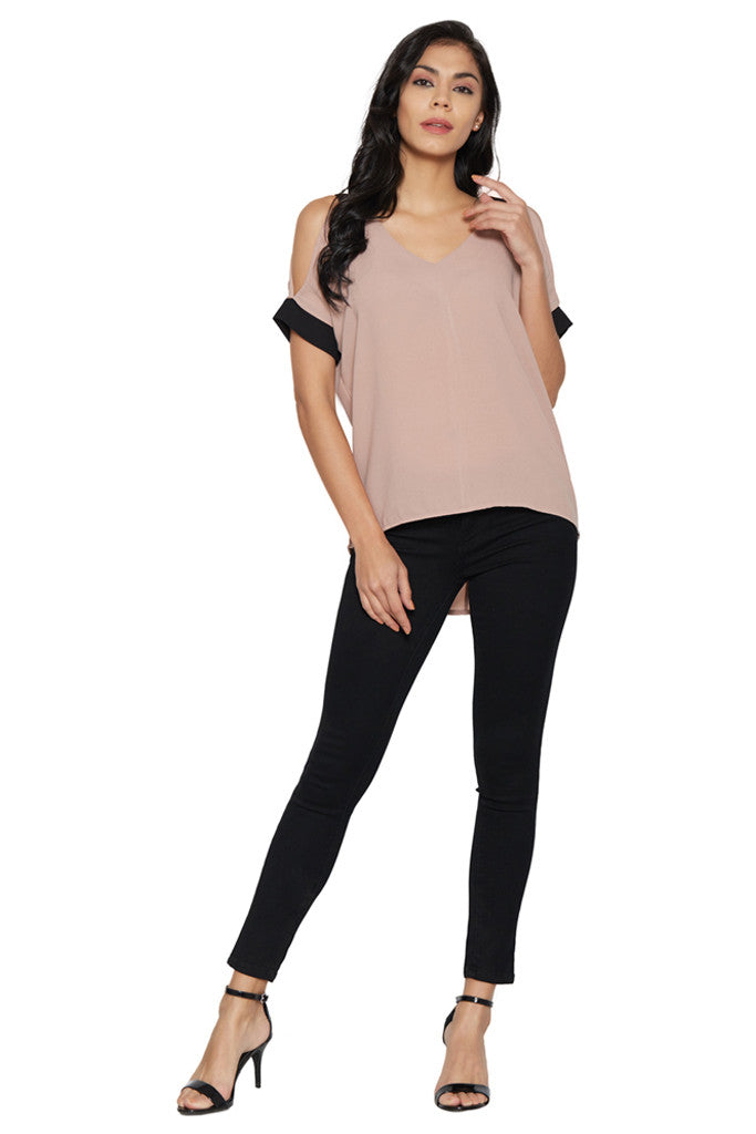 Dusty Pink Cold-Shoulder Top-5