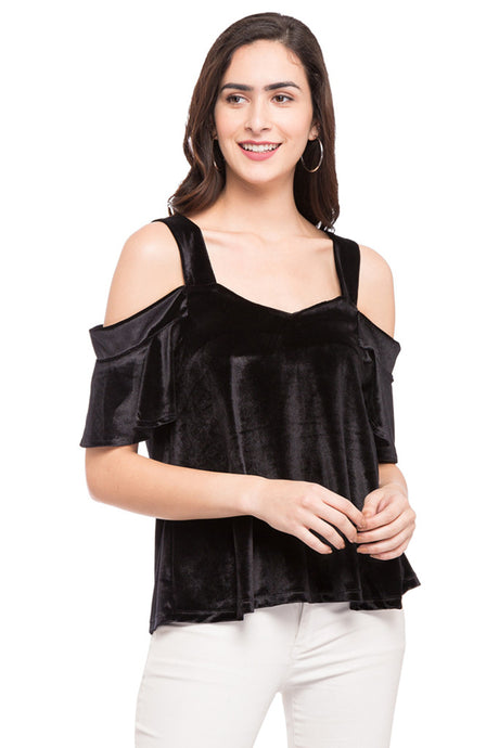 Cold Shoulder Solid Top-1