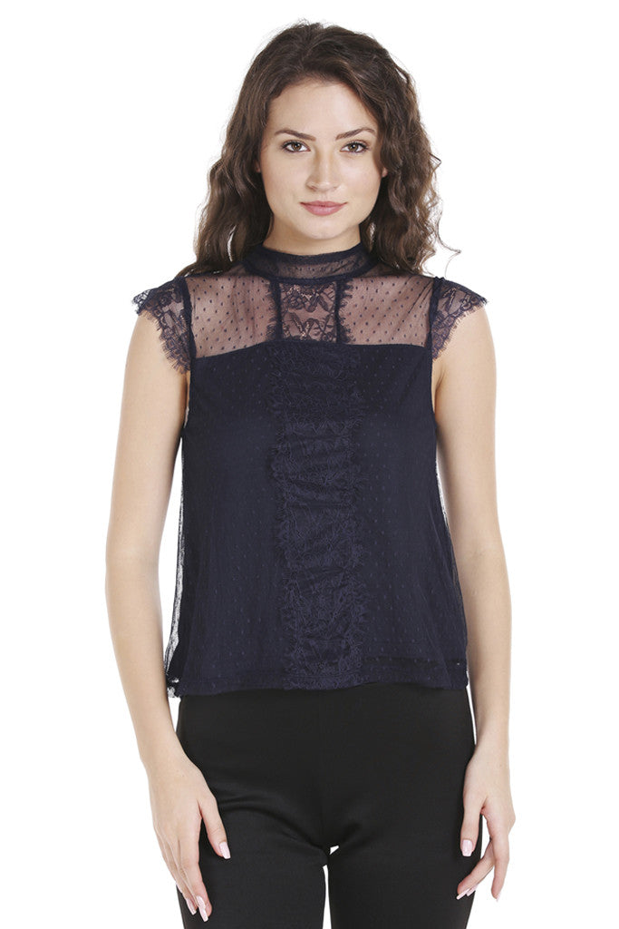 Dobby Lace Cap Sleeve Top-1