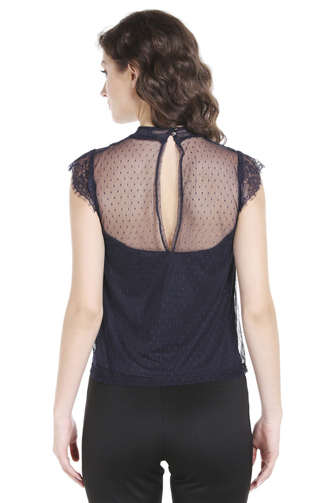 Dobby Lace Cap Sleeve Top-3