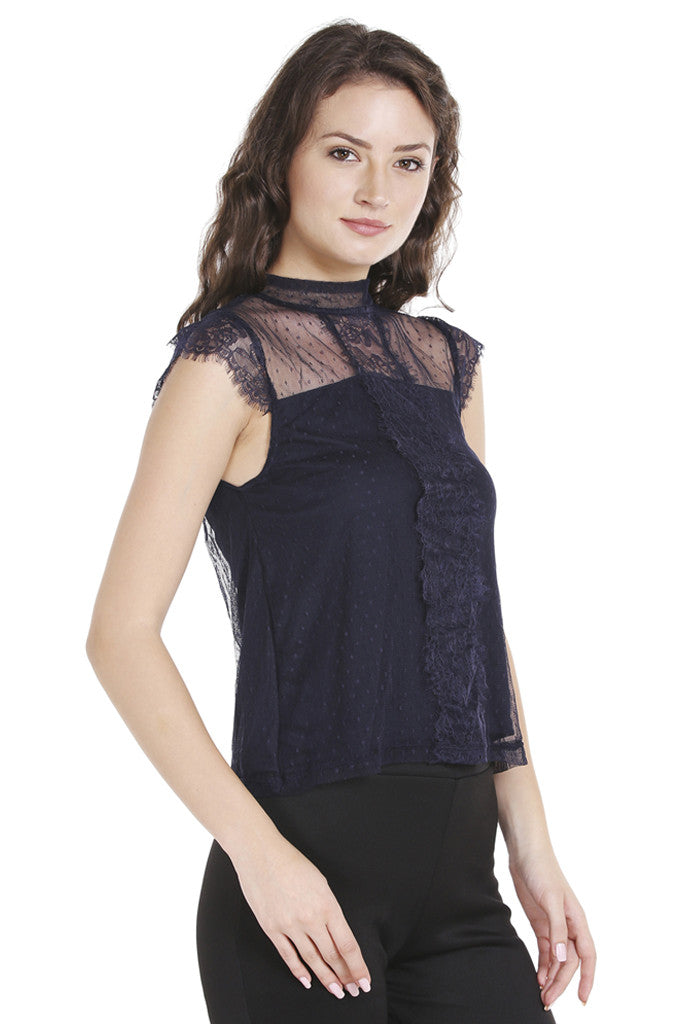 Dobby Lace Cap Sleeve Top-4