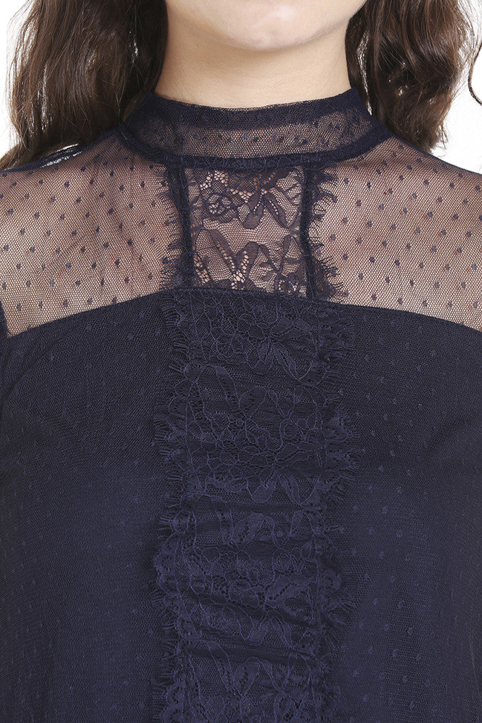 Dobby Lace Cap Sleeve Top-6