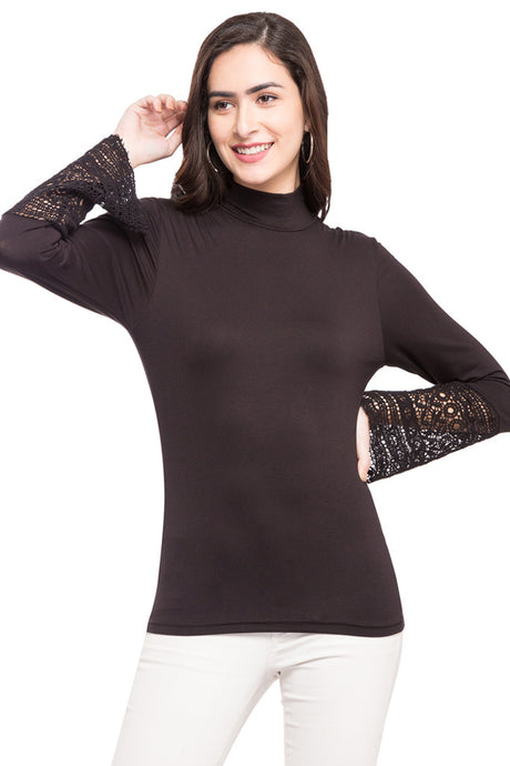 Turtle Neck Lace Sleeve Top-1