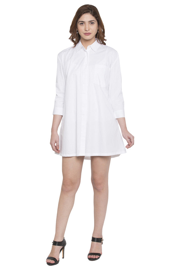 Full Sleeve Knee Length Shirt Dress-1
