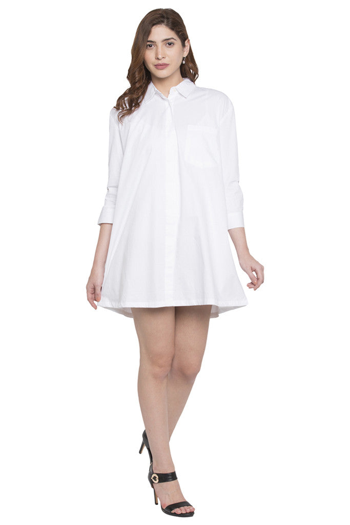 Full Sleeve Knee Length Shirt Dress-2