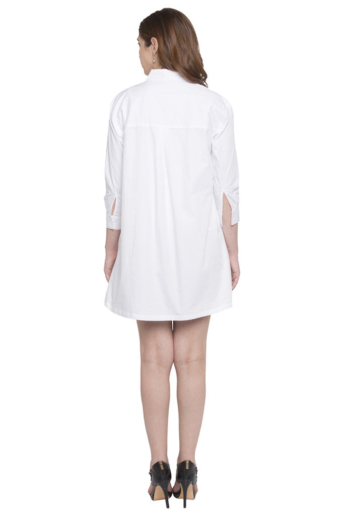 Full Sleeve Knee Length Shirt Dress-3