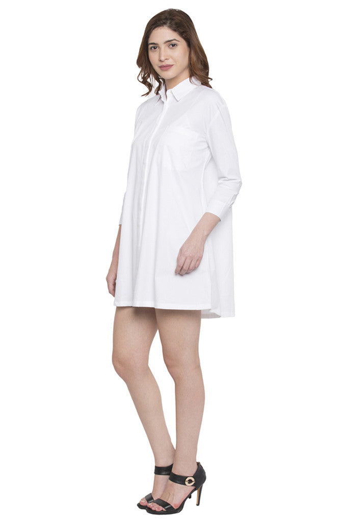 Full Sleeve Knee Length Shirt Dress-4