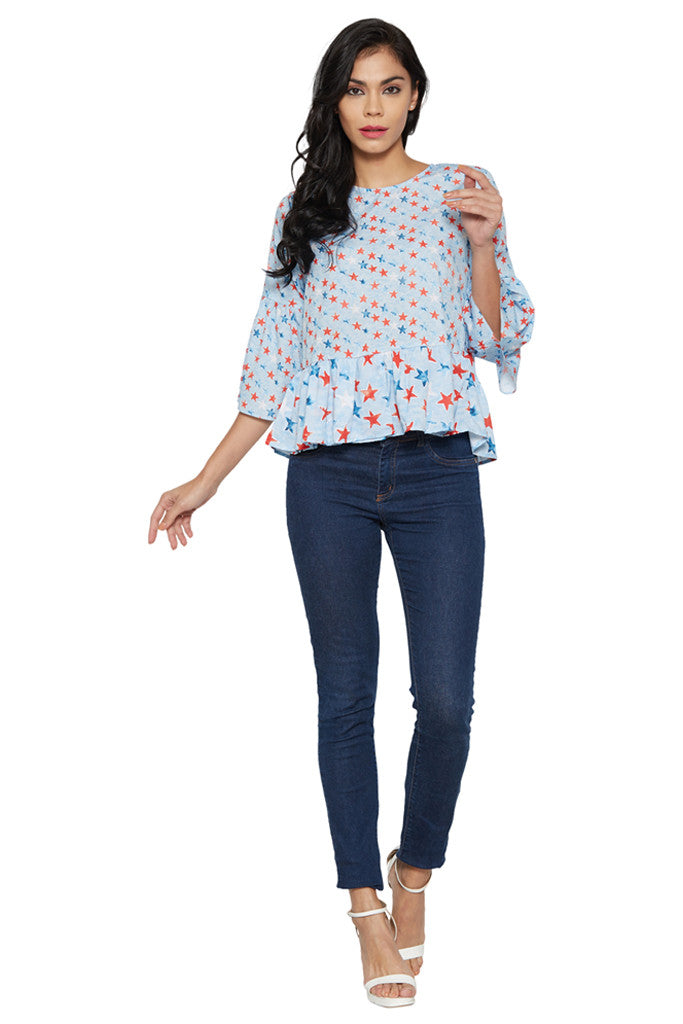 Blue Bell Sleeve Top-5
