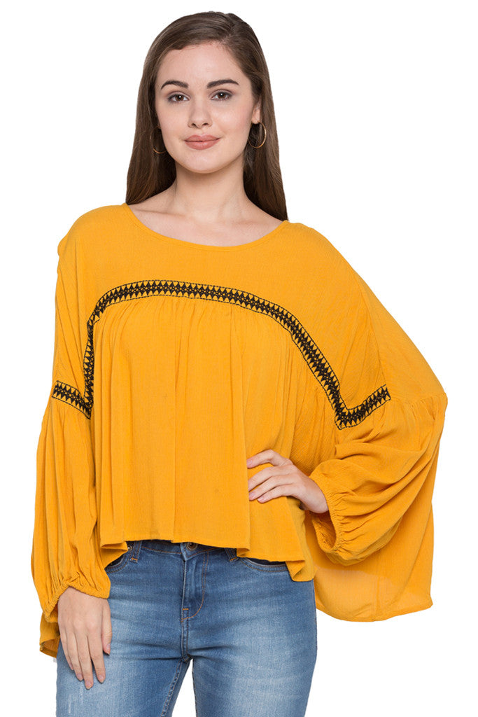 Embroidered Front Yoke Top-1