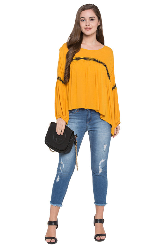 Embroidered Front Yoke Top-2