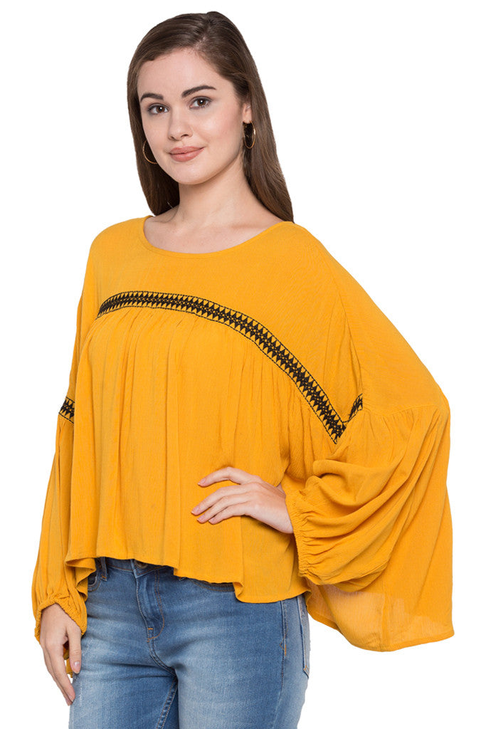 Embroidered Front Yoke Top-4