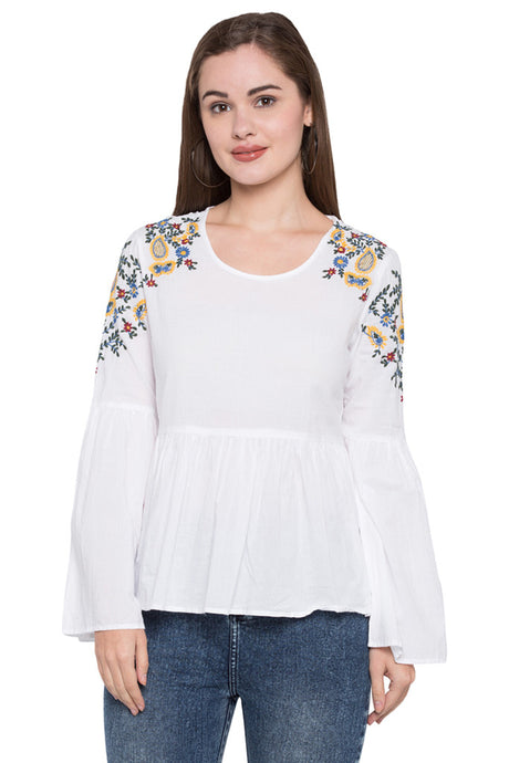 Floral Embroidered Peplum Top-1