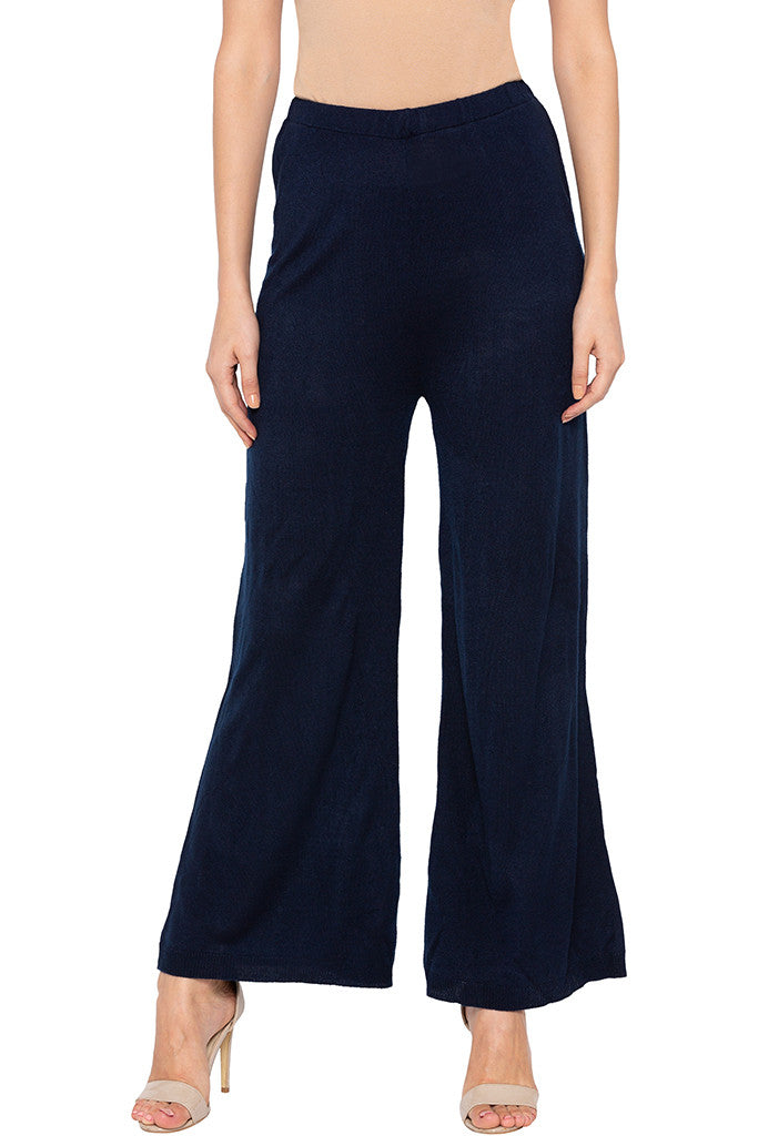 Solid Navy Blue Palazzos-1