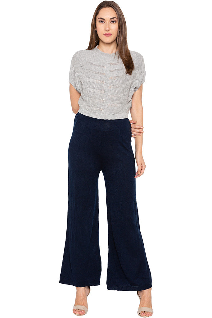 Solid Navy Blue Palazzos-2