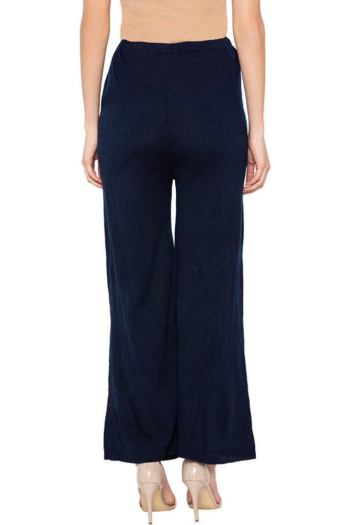 Solid Navy Blue Palazzos-3