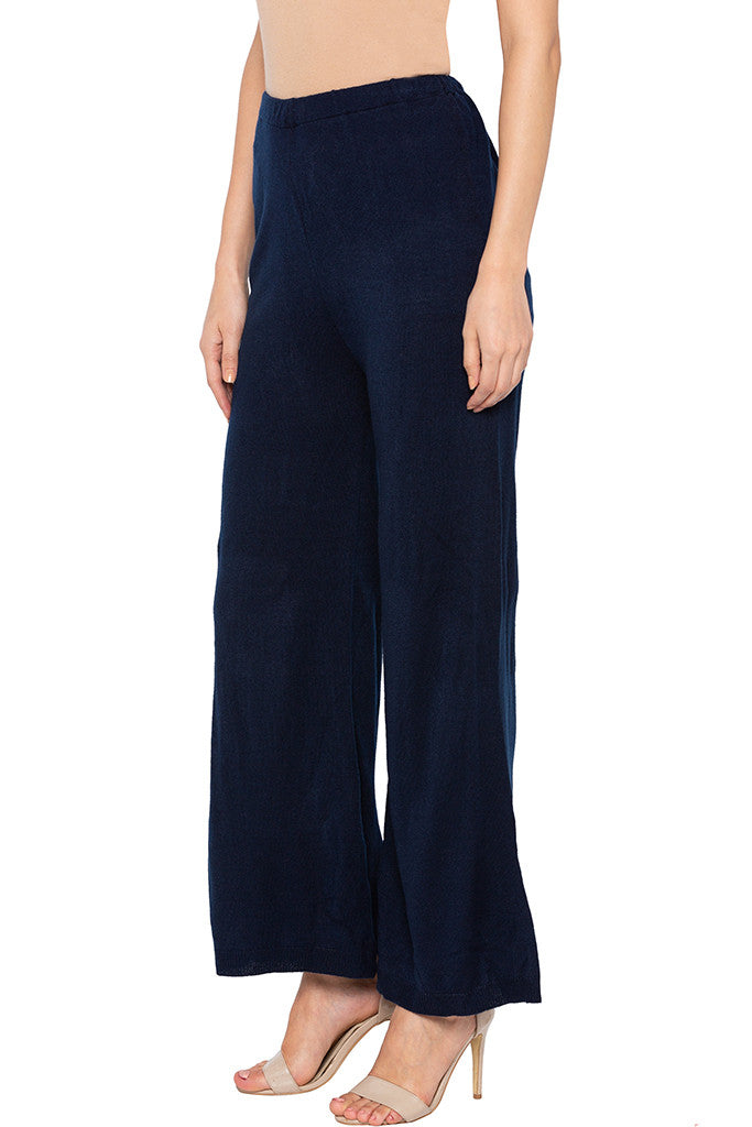 Solid Navy Blue Palazzos-4
