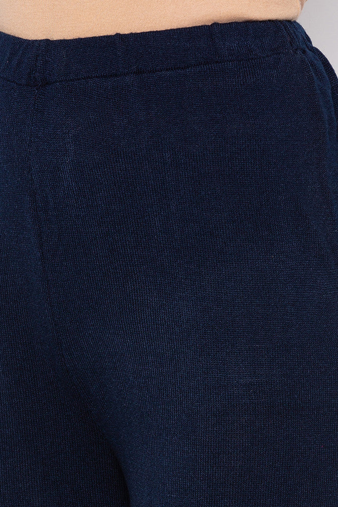 Solid Navy Blue Palazzos-5