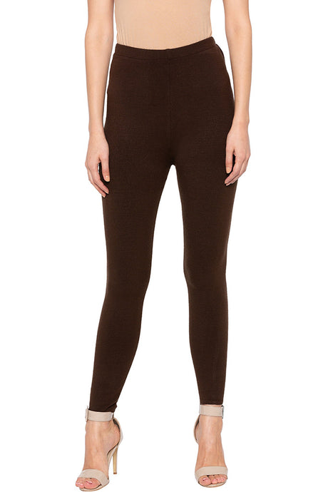 Dark Brown Solid Jeggings-1