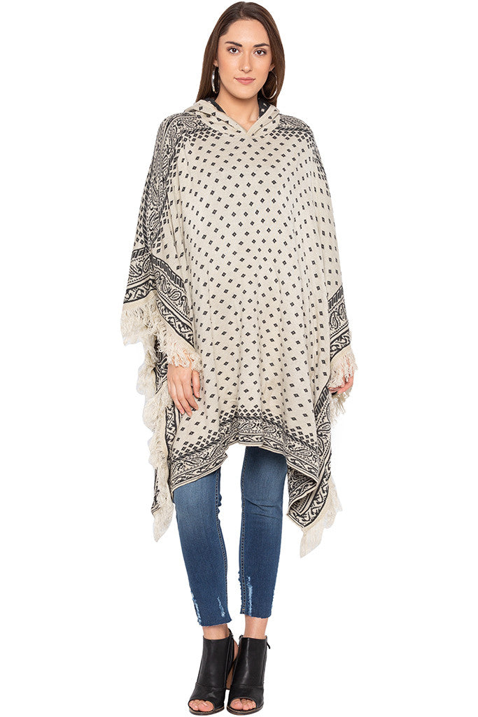 Ecru Printed Hooded Fringed Poncho-1