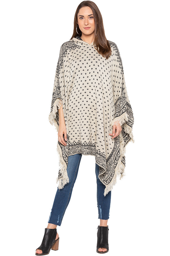 Ecru Printed Hooded Fringed Poncho-2