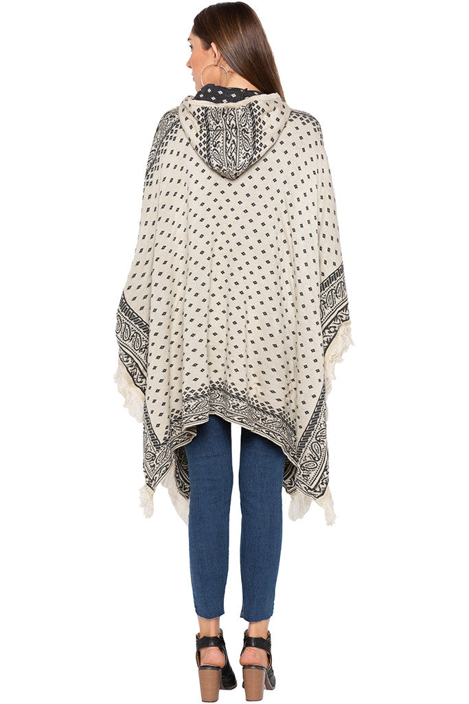 Ecru Printed Hooded Fringed Poncho-3