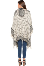 Load image into Gallery viewer, Ecru Printed Hooded Fringed Poncho-3
