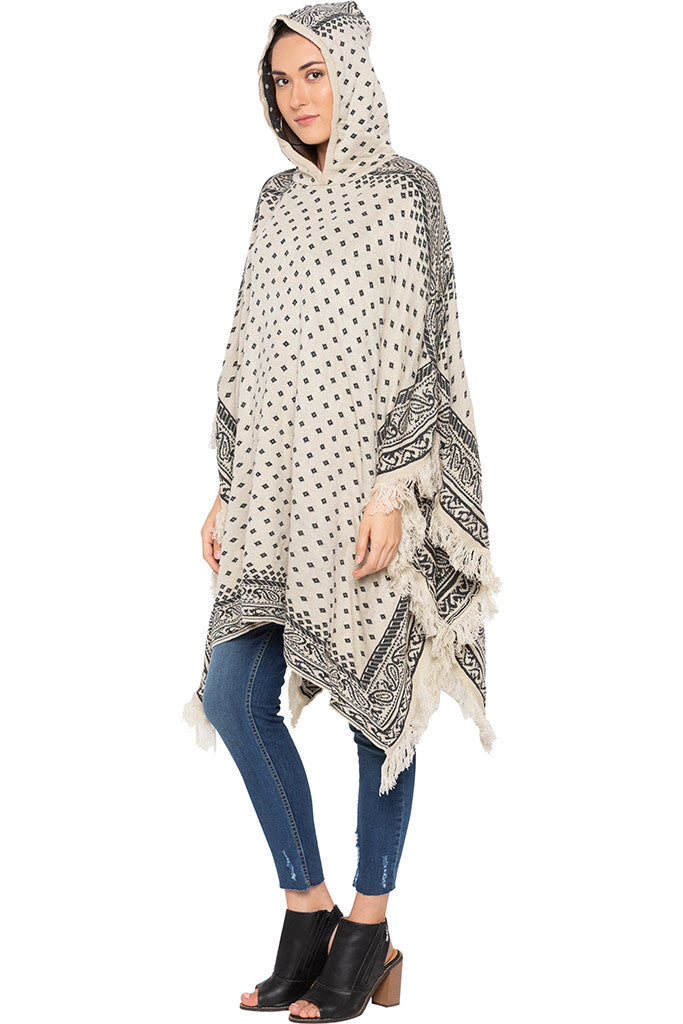 Ecru Printed Hooded Fringed Poncho-4