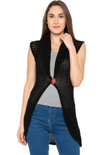 Load image into Gallery viewer, Black Crochet Sleeveless Shrug-1