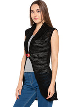 Load image into Gallery viewer, Black Crochet Sleeveless Shrug-4
