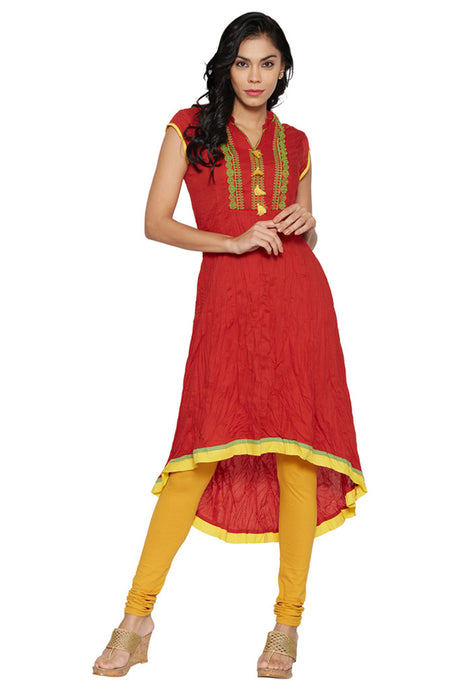 Red Floral Women's Kurta-1