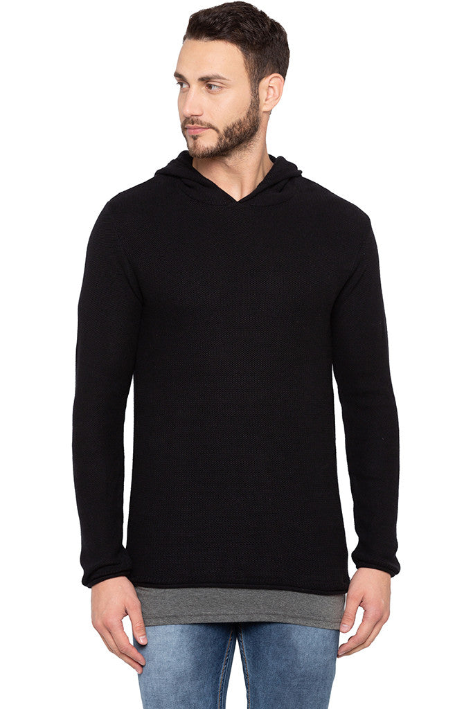 Long Sleeved Hooded Black Sweater-1