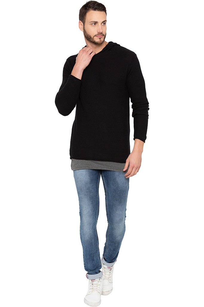 Long Sleeved Hooded Black Sweater-2