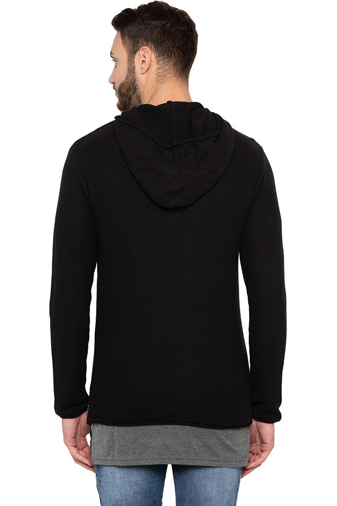 Long Sleeved Hooded Black Sweater-3