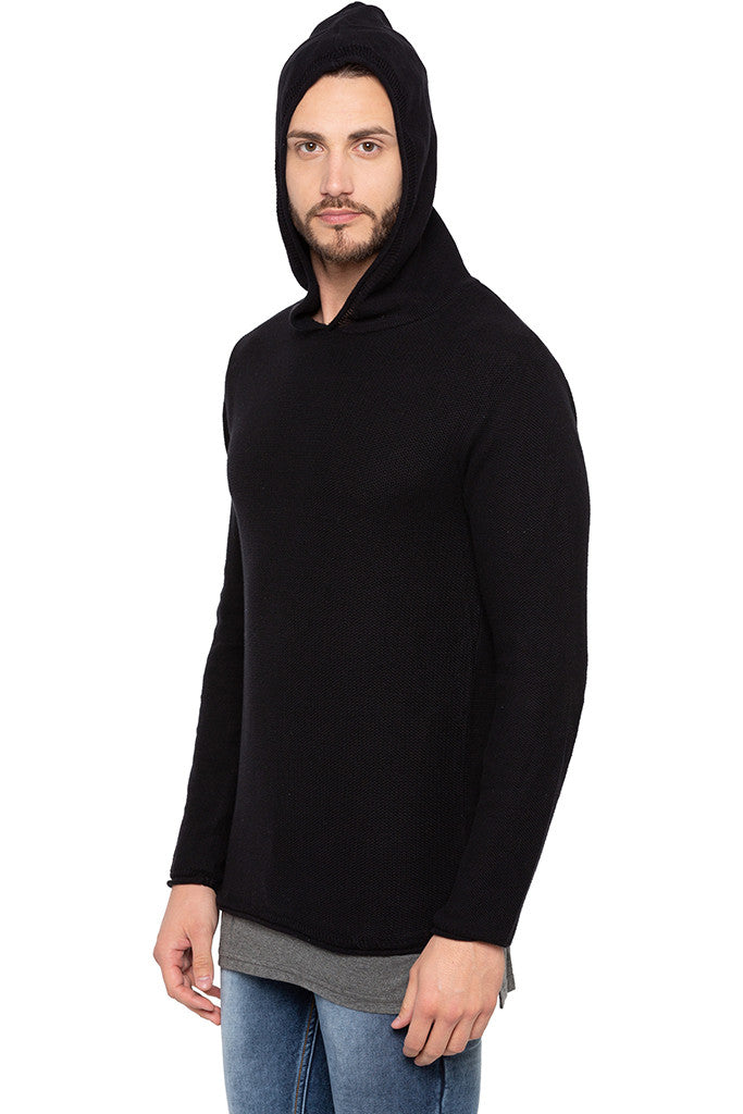 Long Sleeved Hooded Black Sweater-4