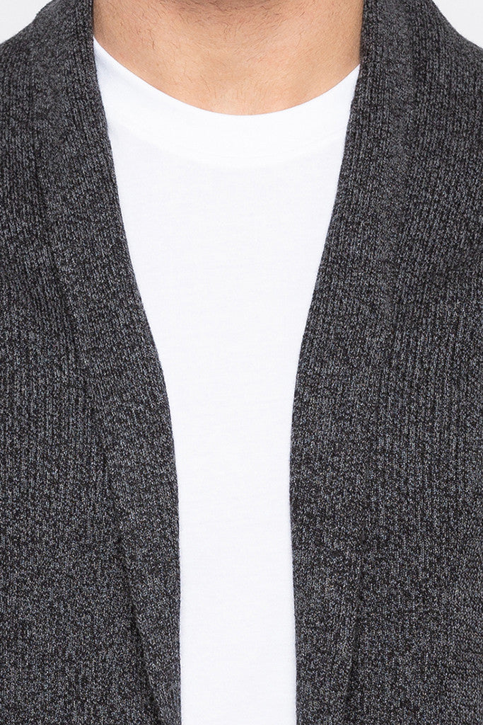 Open Front Shawl Collar Black Sweater-5