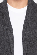 Load image into Gallery viewer, Open Front Shawl Collar Black Sweater-5