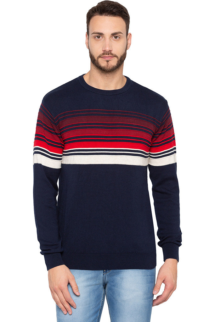 Striped Navy Blue Full Sleeved Sweater-1