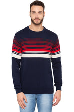 Load image into Gallery viewer, Striped Navy Blue Full Sleeved Sweater-1
