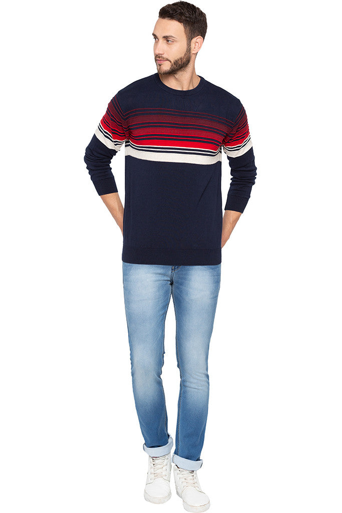 Striped Navy Blue Full Sleeved Sweater-2